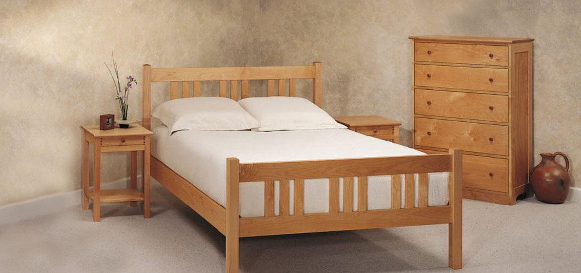 Arts Crafts Bed Shown With Writing Desk Nightstands And Five Drawer Dresser Optional Mirror